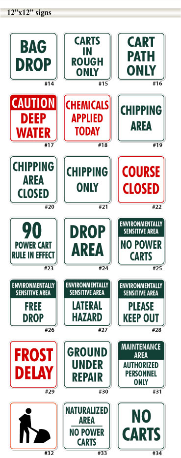 12inch by 12inch golf course signs