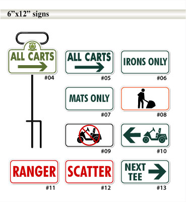 6inch by 12inch golf course signs